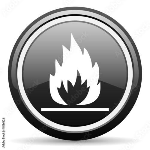 flames black glossy icon on white background