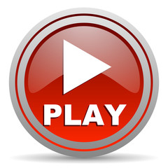 play red glossy icon on white background