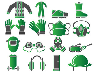 ICONS SET WORK SAFETY CLEAN