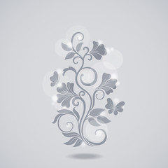 Grayscale floral element