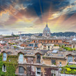 Wonderful view of Rome at sunset with St Peter Cathedral