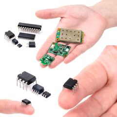 Miniature elctronic circuit board on hand