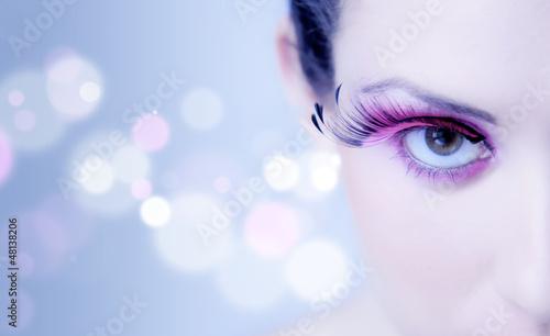 canvas print picture Occhio ragazza makeup rosa