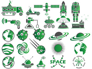 25 SPACE ICONS GREEN