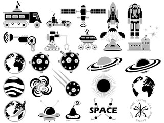 25 SPACE ICONS BLACK