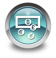 """Light Blue Glossy Pictogram """"Currency Exchange"""""""