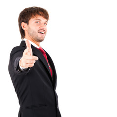 Businessman doing the ok pose isolated on white
