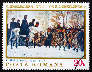 Postage stamp Romania 1976 Washington at Walley Forge