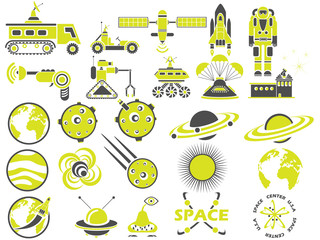 25 SPACE ICONS YELLOW