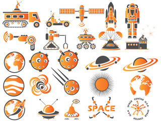 25 SPACE ICONS ORANGE