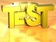 3D Word Test on yellow background