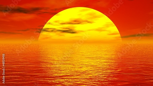 Sunset over ocean - 3D render