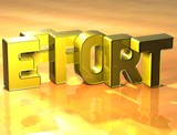 3D Word Effort on yellow background poster