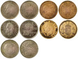 different rare coins of spain isolated on white background