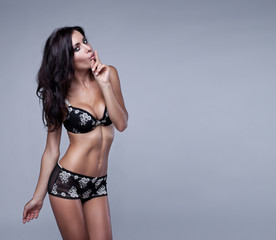 Sexy brunette woman in lingerie