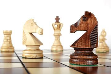 Schachfiguren auf Spielfeld (Pferde im Vordergrund)