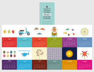 calendar 2013 spanish, with beautiful illustration each month