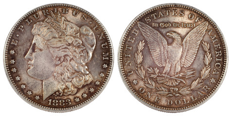 old silver coin dollar of usa 1883 year