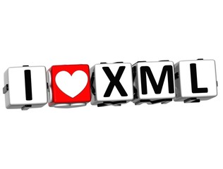 3D I Love XML Button Click Here Block Text