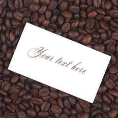 Text card on cofee beans