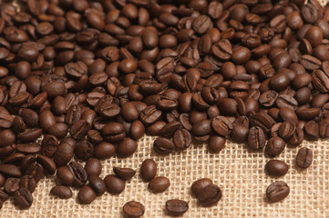 Coffee beans on sack