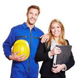 Fototapety Team aus Arbeiter und Businessfrau