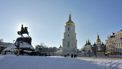 Kiev, Saint Sophia Cathedral and Monument Bogdan Khmelnitsky