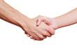 Mann und Frau machen Handschlag