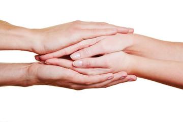 Hände halten zur Anteilnahme