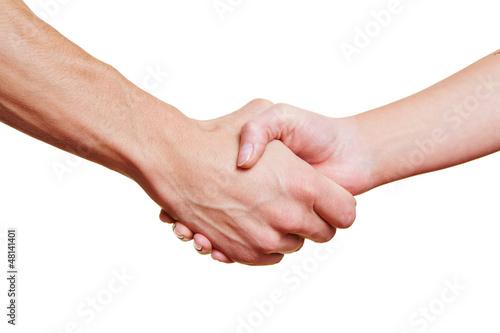 Leinwandbild Motiv Mann und Frau machen Handschlag