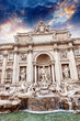 Autumn sunset above Trevi Fountain - Fontana di Trevi in Rome