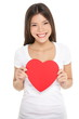 Valentines day woman holding heart isolated