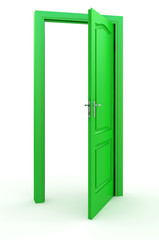 Green door standing free on a white floor