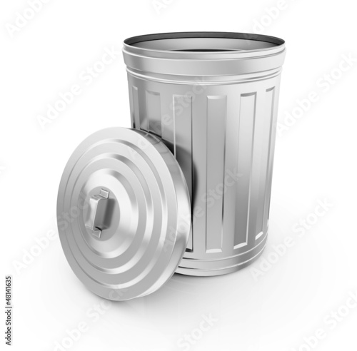 Empty trash can on white background