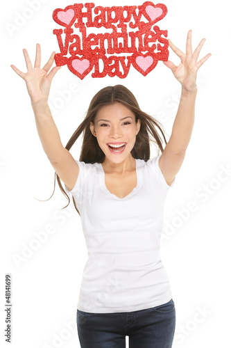 Woman showing Valentines day sign