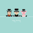 "Ladybeetle, Chimney Sweep & Pig ""Happy Birthday"" Retro"