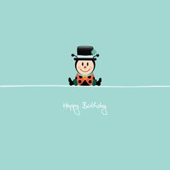"""Sitting Ladybeetle """"Happy Birthday"""" Retro"""