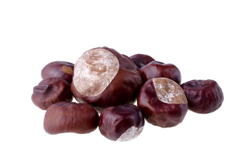 Chestnuts, isolated over white