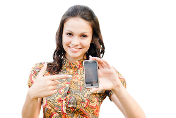Young beautiful woman holding  touch phone with copy space isola
