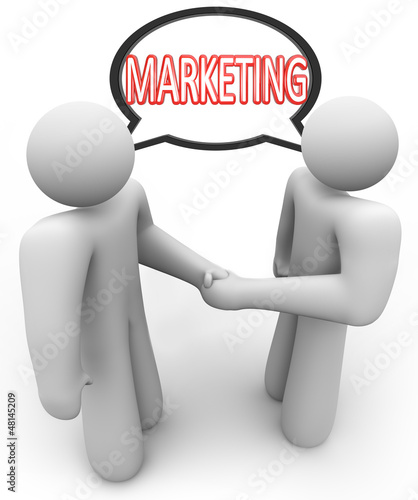 Marketing Word Handshake Speech Bubble Salespeople