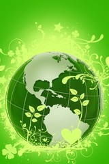 Green Floral Globe