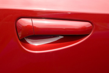 red car door handle