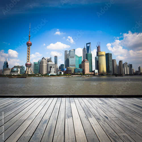 shanghai skyline with wooden floor