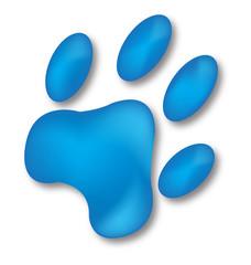 Dog blue footprint