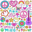 Peace Love Music Groovy Notebook Doodles Vector Set