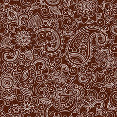Henna Pattern Seamless Paisley Mehndi Tattoo Design