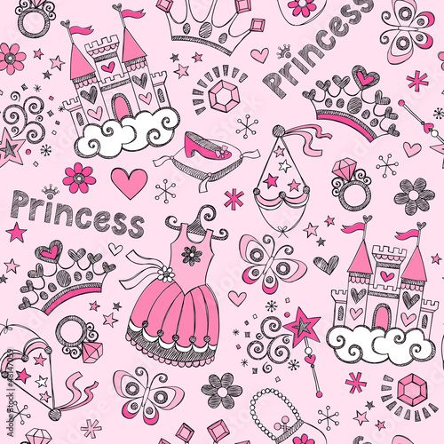 Pincess Sketchy Doodles Seamless Pattern Vector