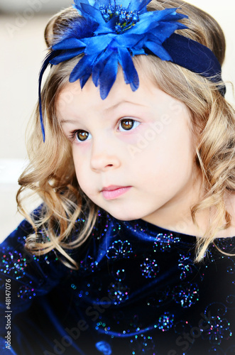 Little Girl in Navy Blue Dress
