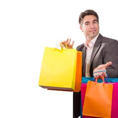 Geschäftsmann beim Geschenke kaufen