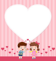 illustration of boy and girl with blank heart